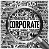 CORPORATE word cloud with magnifying glass Royalty Free Stock Image