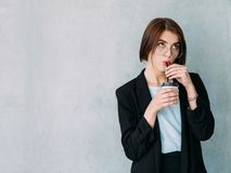 Corporate worker break young woman coffee royalty free stock image