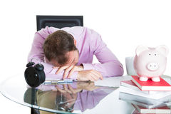 Corporate worker who fell asleep being exhausted working on his project Stock Images