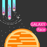 Corporatedesign and  colorful. Galaxy face Cartoon family take the Moon.Full color Stock Image