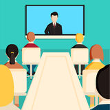Corporation directors board. At the conference call meeting with CEO at the video projection screen. Modern colorful flat style vector illustration isolated on Stock Photography
