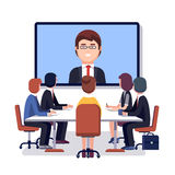 Corporation directors board at the conference call. Meeting with CEO at the video call projection screen. Modern colorful flat style vector illustration Stock Photos