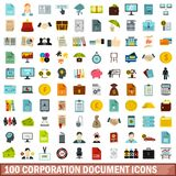 100 corporation document icons set, flat style. 100 corporation document icons set in flat style for any design vector illustration Vector Illustration