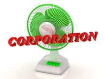 CORPORATION- Green Fan propeller and bright color letters Royalty Free Stock Images