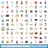 100 corporation icons set, cartoon style. 100 corporation icons set in cartoon style for any design vector illustration Stock Photography