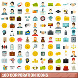 100 corporation icons set, flat style. 100 corporation icons set in flat style for any design vector illustration Royalty Free Stock Photography