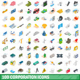 100 corporation icons set, isometric 3d style Stock Photography