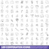 100 corporation icons set, outline style Royalty Free Stock Photos