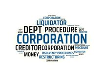 CORPORATION - image with words associated with the topic INSOLVENCY, word, image, illustration. CORPORATION - image with words associated with the topic Royalty Free Stock Images