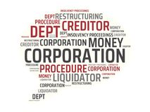 CORPORATION - image with words associated with the topic INSOLVENCY, word, image, illustration. CORPORATION - image with words associated with the topic Stock Image