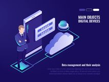 Corporation public data storaging, access for file who storage on remote cloud server concept. Modern server room, smartphone, cloud icon, registration form Royalty Free Stock Images