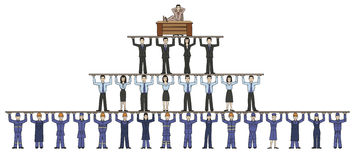 Corporation. Schematic structure of the corporation. Boss on top and bottom wage earners Stock Image