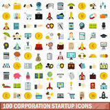 100 corporation startup icons set, flat style. 100 corporation startup icons set in flat style for any design vector illustration Stock Images