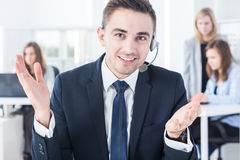 Corporation worker in headset Stock Images