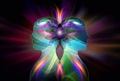 Corpos masculinos, fêmeas humanos, consciência da unidade da iluminação da inspiração do universo, Yin Yang, chamas gêmeas ilustração do vetor