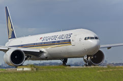 Corps de taxi d'avion de Singapore Airlines Photos libres de droits