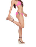 Corps féminin attirant avec des vêtements de bain roses Photographie stock libre de droits