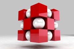 Corps géométrique fait de boules blanches et cubes rouges illustration de vecteur