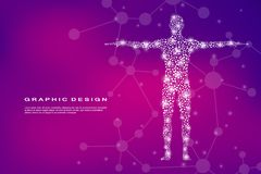 Corps humain abstrait avec de l'ADN de molécules Médecine, concept de la science et technologie Illustration de vecteur Photo stock
