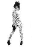 Corps nu de femme peint comme zèbre Photos stock