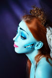 Corpse bride. Halloween beautiful model with perfect corpse bride make up close up. Pretty zomdie or ghost concept. Sad hero Stock Images