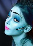 Corpse bride under blue moon light Stock Photo