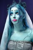 Corpse bride under blue moon light. Halloween: Horror scene of a corpse bride under blue moon light Royalty Free Stock Photography
