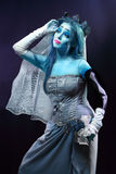 Corpse bride under blue moon light Stock Images