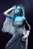 Corpse bride under blue moon light Stock Images