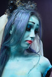 Corpse bride under blue moon light Stock Image