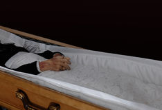 Corpse in the coffin Royalty Free Stock Image