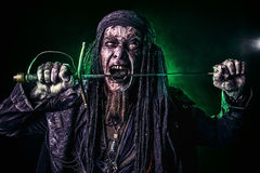 Corpse pirate. Fantasy pirate, risen from the dead. Pirate zombie in hell green light. Halloween royalty free stock photos