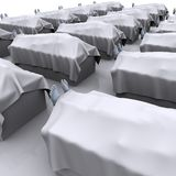 Corpses. Death bodyes covered with a white sheet in morgue Royalty Free Stock Photo
