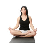 Corpulent woman training yoga Royalty Free Stock Images