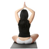 Corpulent woman training yoga Stock Images