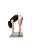 Corpulent woman training yoga Stock Photo