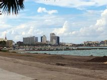 Corpus Christi. Beach front hotels ocean boats Stock Photography