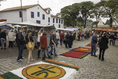 Corpus Christi carpets enchant believers and tourists in Embu da Stock Image