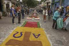 Corpus Christi carpets enchant believers and tourists in Embu da Royalty Free Stock Image