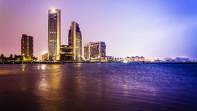 Corpus Christi City Skyline bij Nacht in Texas - Cityscape Stock Afbeelding