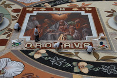 Corpus Christi en La Orotava, Tenerife's-Bloemtapijten Royalty-vrije Stock Afbeeldingen