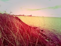 Corpus Christi. Faded old time photo filtered treated red orange Stock Image