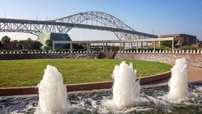 Corpus Christi Harbor Bridge. From the Water Gardens at Bayfront Science Park Stock Photo