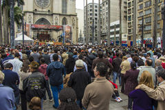 Corpus Christi holyday - Sao Paulo. Corpus Christi holyday on front of Sé Cathedral - Sao Paulo - Brazil stock image