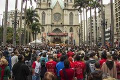 Corpus Christi holyday - Sao Paulo. Corpus Christi holyday on front of Sé Cathedral - Sao Paulo - Brazil royalty free stock photo