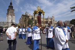The Corpus Christi processions in Krakow Poland are every year in May. Poland is a Catholic Country and people are very religious. Kralow is called the city of royalty free stock image