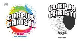 Corpus Christi, Teksas, dwa logo grafiki ilustracji