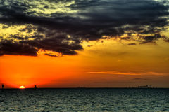 Corpus Christi, Texas Skylines bei Sonnenuntergang stockbild