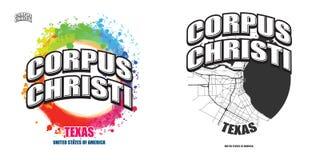 Corpus Christi Texas, två logokonstverk stock illustrationer