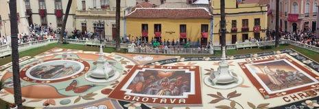 Corpus Christi y La Orotava, alfombras de Tenerife Royaltyfria Foton